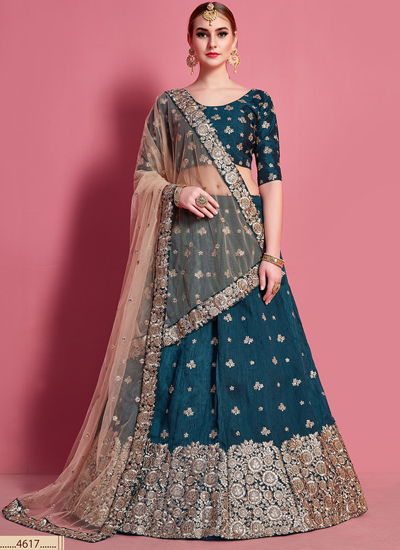 Sareetag Arya Designs Dark Green Dazzling Party Wear Lehenga Choli