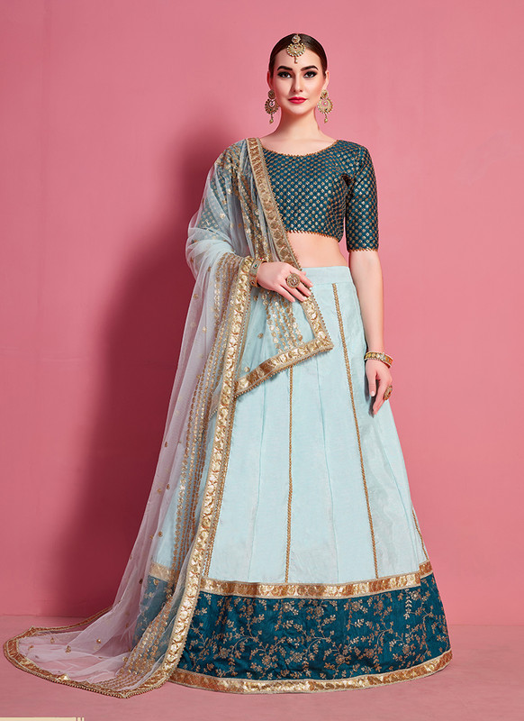 Sareetag Arya Designs Sea Green Attractive Party Wear Lehenga Choli