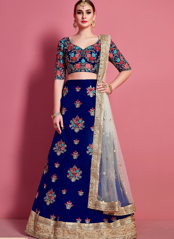 Sareetag Arya Designs Navy Blue Lovely Party Wear Lehenga Choli