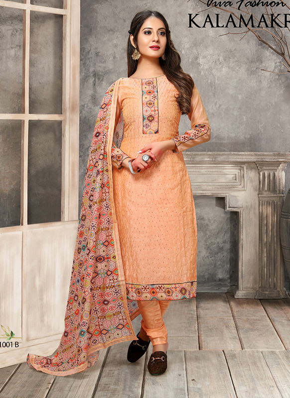 Kalamkari Chaderi Embroidered Orange Designer Suit