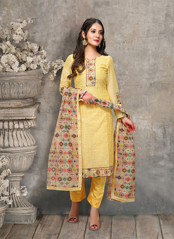 Kalamkari Chaderi Embroidered Yellow Designer Suit