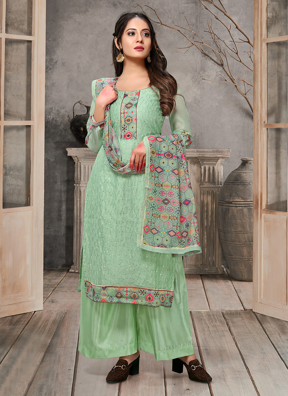 Kalamkari Chaderi Embroidered Green Designer Suit