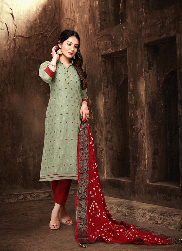 Viva Bandhani Chanderi Cotton Sea Green Color Salwar Suit