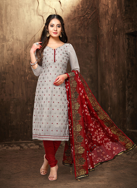 Viva Bandhani Chanderi Cotton Grey Color Salwar Suit