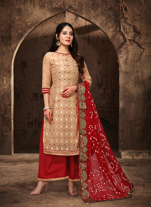 Viva Bandhani Chanderi Cotton Cream Color Salwar Suit