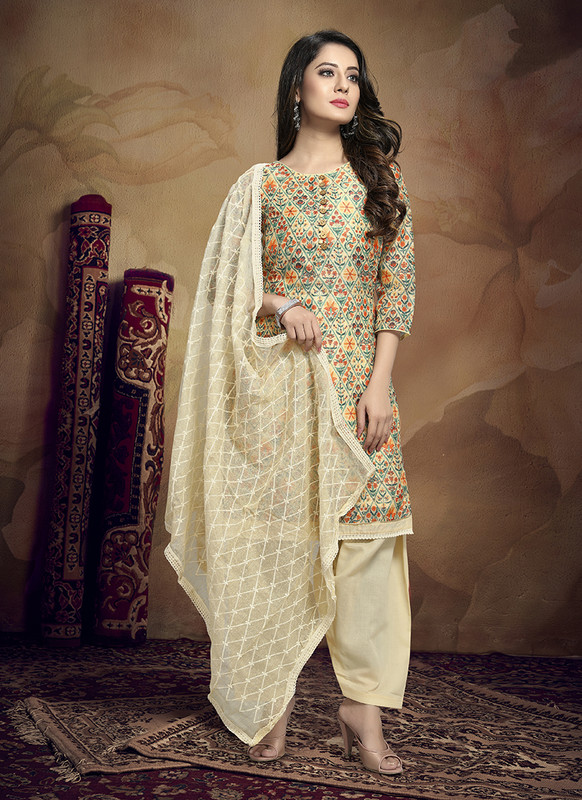 Kalamkari Chaderi Embroidered Off White Designer Suit