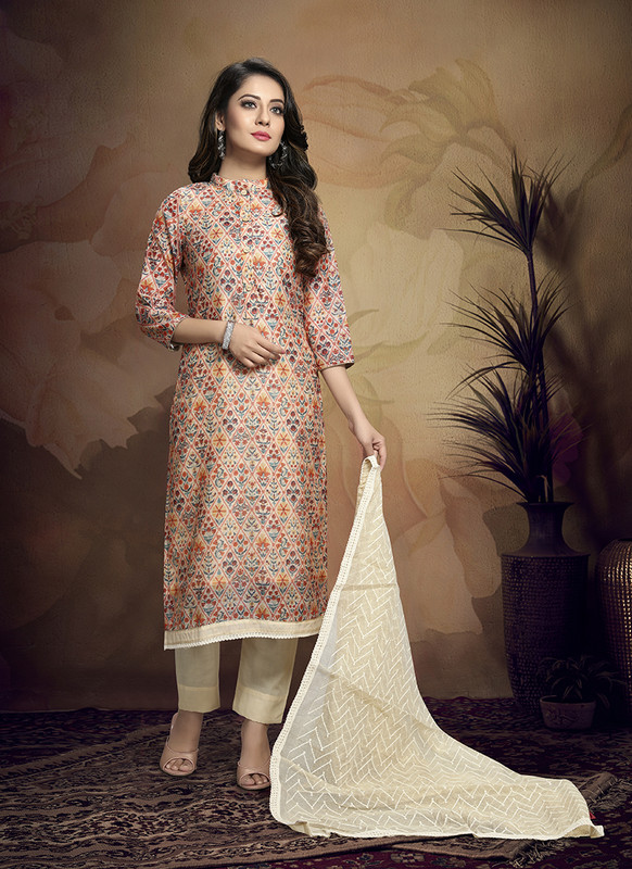 Kalamkari Chaderi Embroidered Peach Designer Suit