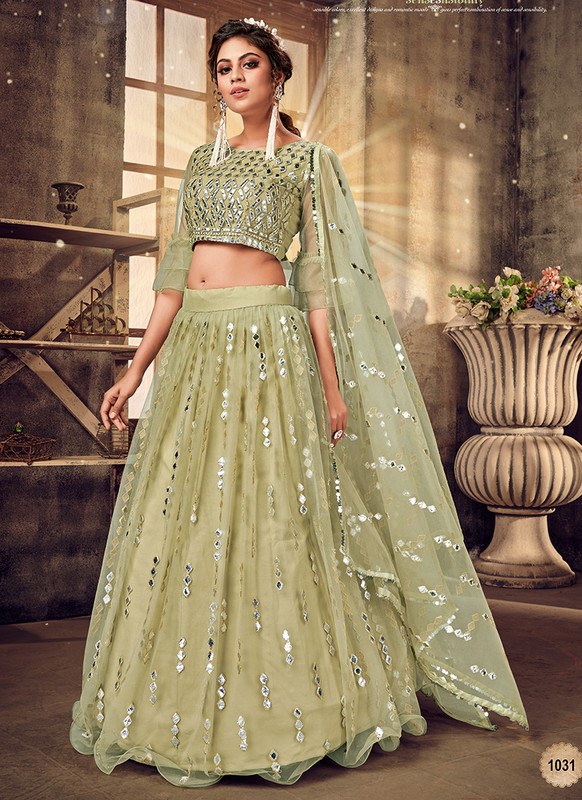 Panvi beige Net Embroidered A Line Lehenga Choli