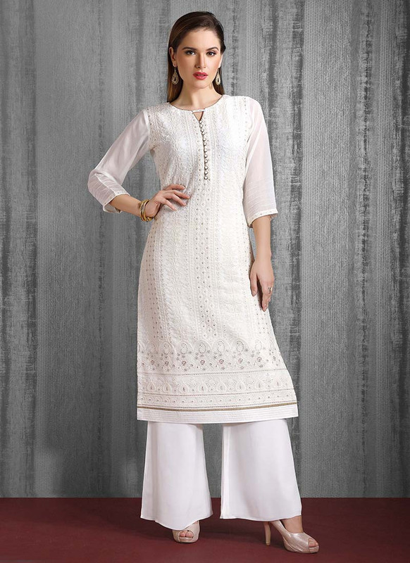Dial N Fashion White Heavy Designer Party Wear Readymade Suit