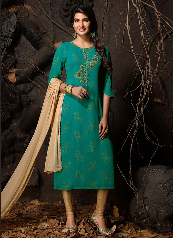 Dial N Fashion Green Heavy Designer Party Wear Readymade Suit