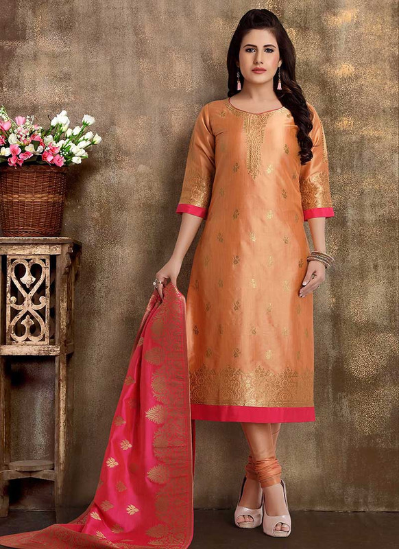 Dial N Fashion Light Peach Heavy Designer Party Wear Readymade Suit