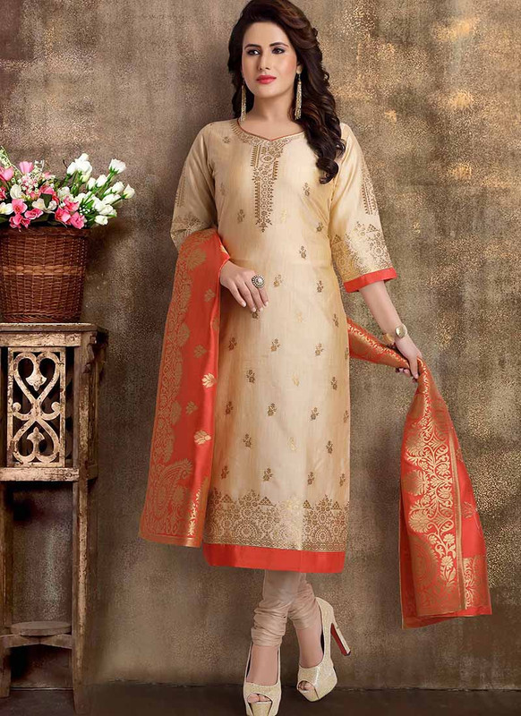 Dial N Fashion Beige Heavy Designer Party Wear Readymade Suit