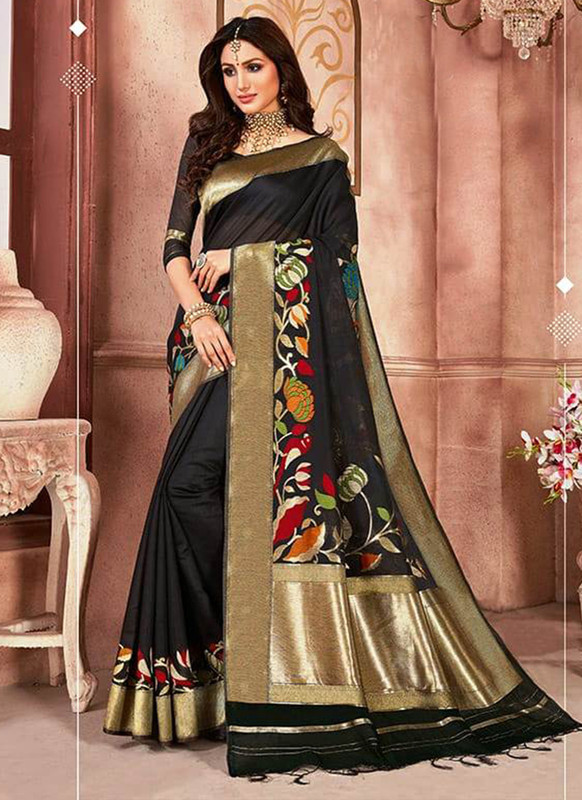 Dial N Fashion Balck Designer Linen Silk Casual Wear Saree