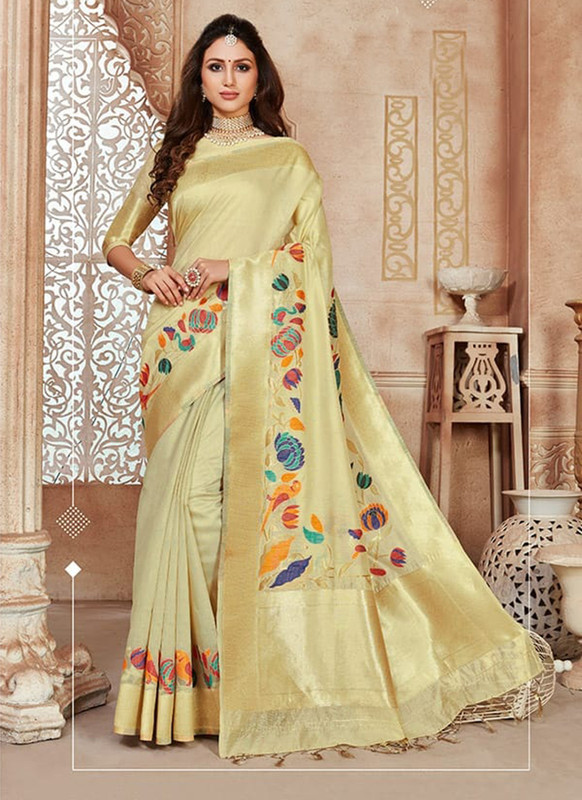 Dial N Fashion Light Gold Designer Linen Silk Casual Wear Saree