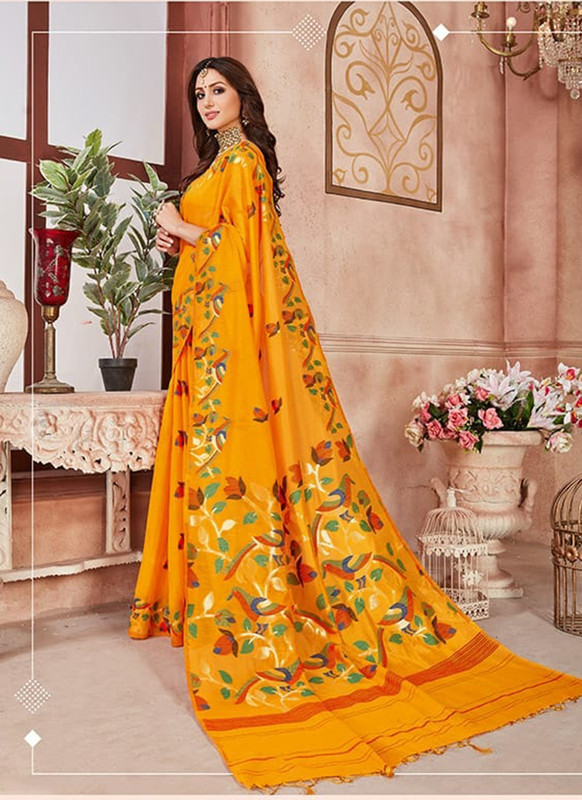 Dial N Fashion Musterd Designer Linen Silk Casual Wear Saree