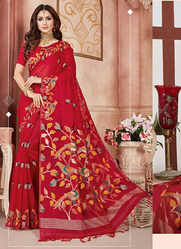 Dial N Fashion Red Designer Linen Silk Casual Wear Saree