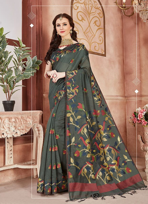 Dial N Fashion Dark Grey Designer Linen Silk Casual Wear Saree
