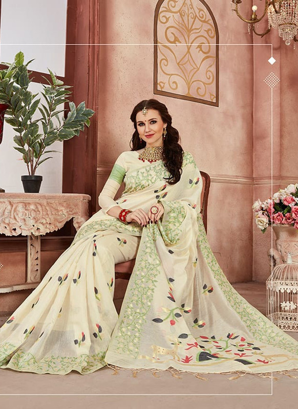 Dial N Fashion Cream Designer Linen Silk Casual Wear Saree
