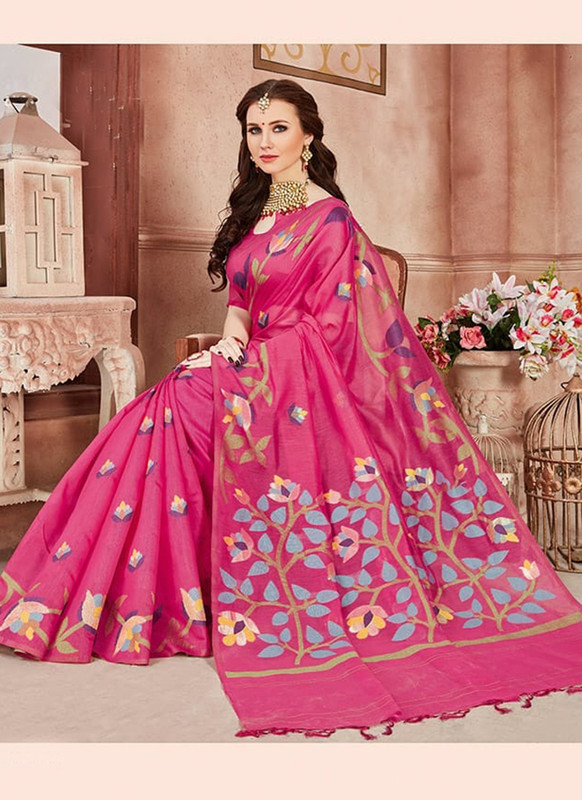 Dial N Fashion Pink Designer Linen Silk Casual Wear Saree