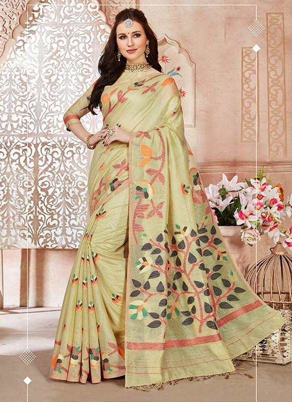 Dial N Fashion Pista Designer Linen Silk Casual Wear Saree