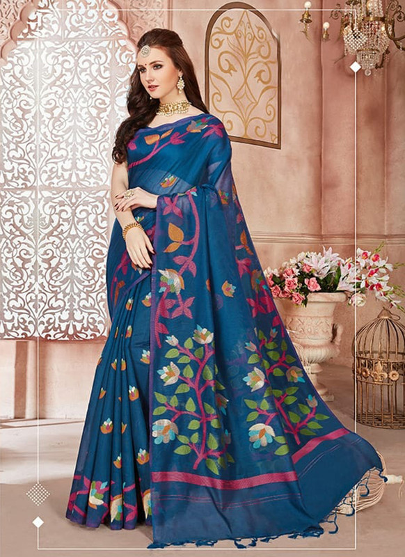 Dial N Fashion Blue Designer Linen Silk Casual Wear Saree