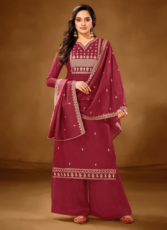 Dial N Fashion Maroon Designer Party Wear Pure Cotton lawn Plazzo Suit