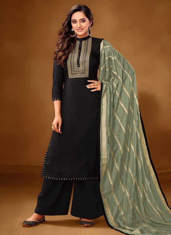Dial N Fashion Black Designer Party Wear Pure Cotton lawn Plazzo Suit