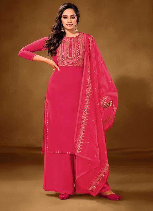 Dial N Fashion Pink Designer Party Wear Pure Cotton lawn Plazzo Suit