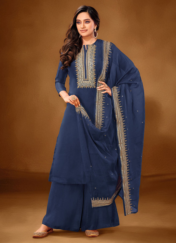 Dial N Fashion Blue Designer Party Wear Pure Cotton lawn Plazzo Suit
