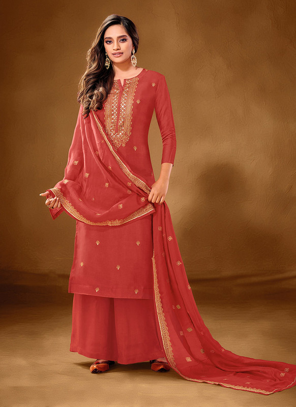 Dial N Fashion Red Designer Party Wear Pure Cotton lawn Plazzo Suit