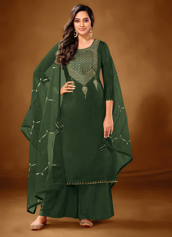 Dial N Fashion Steel Green Designer Party Wear Pure Cotton lawn Plazzo Suit