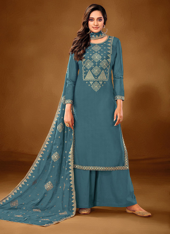 Dial N Fashion Sky Blue Designer Party Wear Pure Cotton lawn Plazzo Suit
