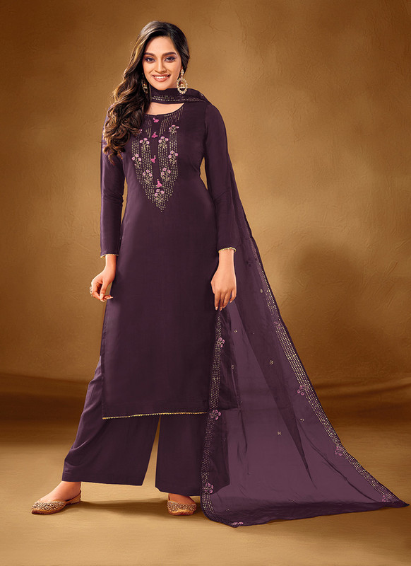 Dial N Fashion Purple Designer Party Wear Pure Cotton lawn Plazzo Suit
