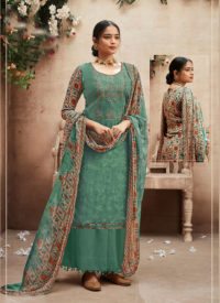 Dial N Fashion Green Designer Party Wear Cotton Patiyala Suit