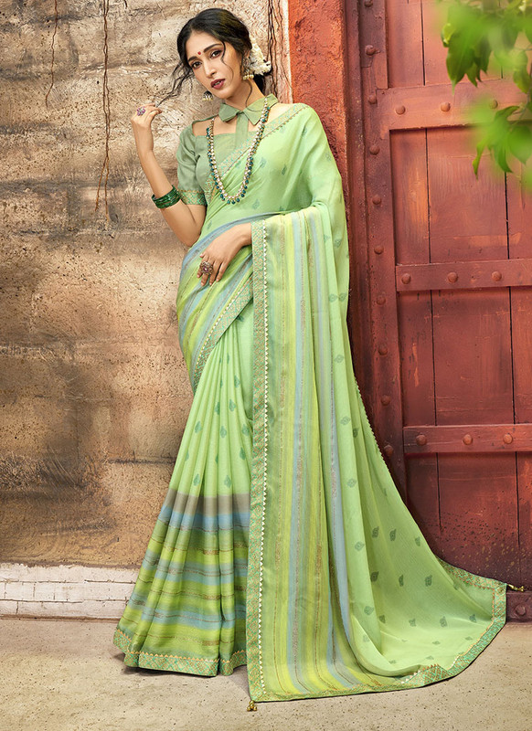 Dial N Fashion Green Designer Printed Casual Wear Chiffon Saree