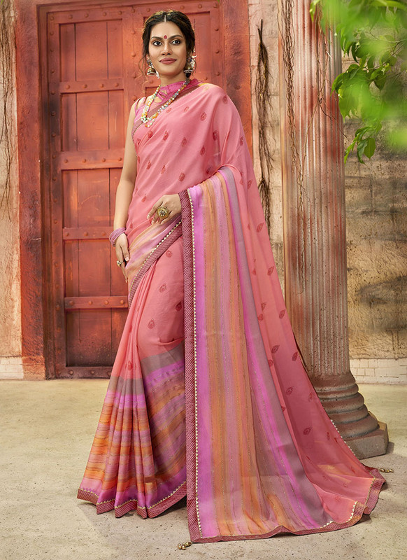 Dial N Fashion Pink Designer Printed Casual Wear Chiffon Saree