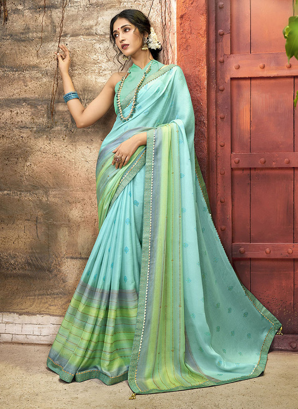 Dial N Fashion Sky Blue Designer Printed Casual Wear Chiffon Saree