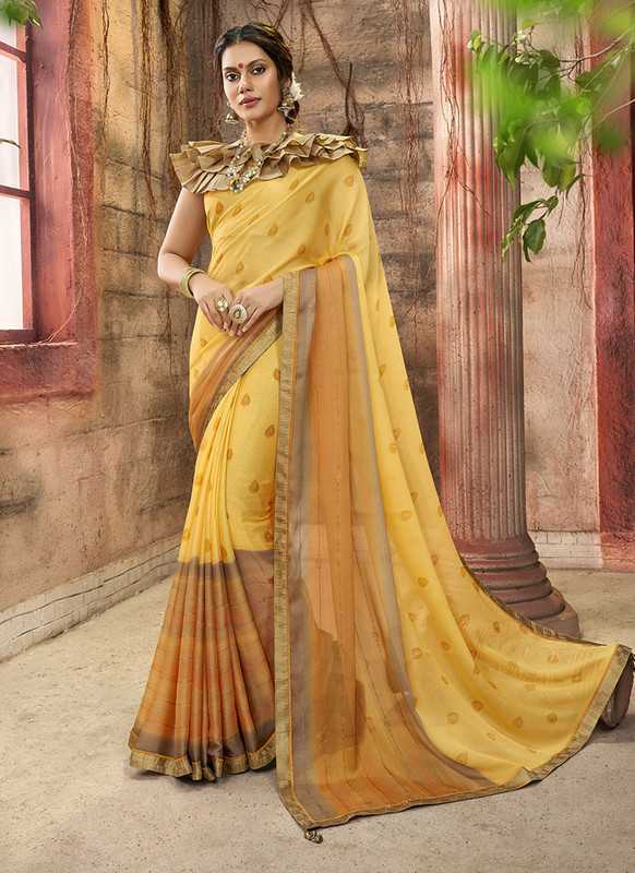 Dial N Fashion Yellow Designer Printed Casual Wear Chiffon Saree
