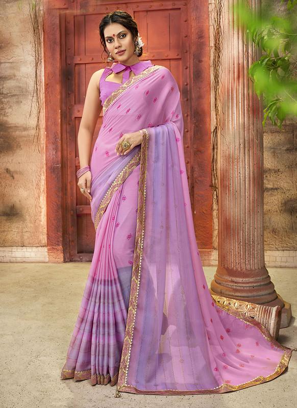 Dial N Fashion Light Violet Designer Printed Casual Wear Chiffon Saree