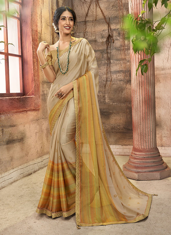 Dial N Fashion Beige Designer Printed Casual Wear Chiffon Saree