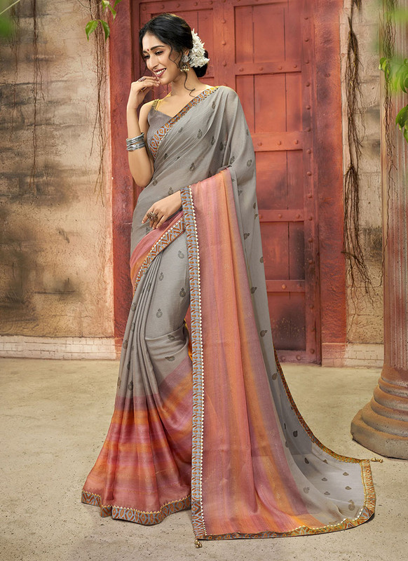 Dial N Fashion Grey Designer Printed Casual Wear Chiffon Saree