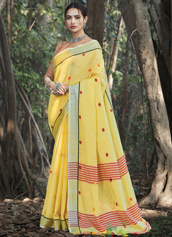 Dial N Fashion Yellow Designer Party Wear Linen Saree