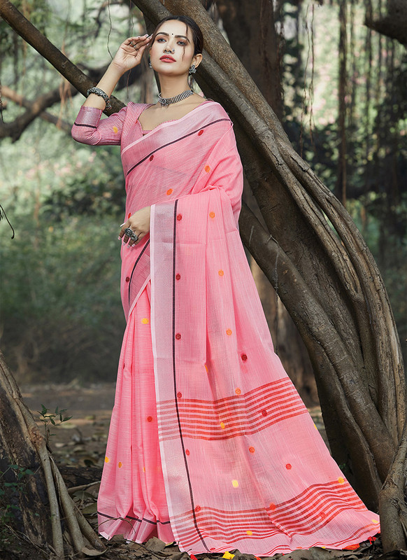 Dial N Fashion Pink Designer Party Wear Linen Saree