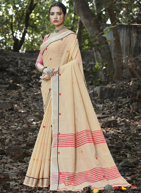 Dial N Fashion Cream Designer Party Wear Linen Saree