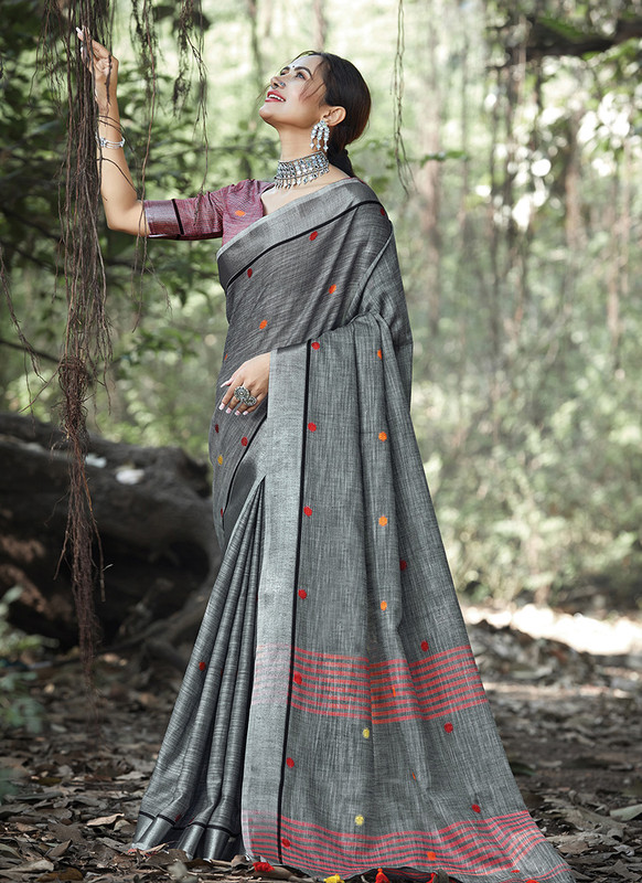 Dial N Fashion Dark Grey Designer Party Wear Linen Saree