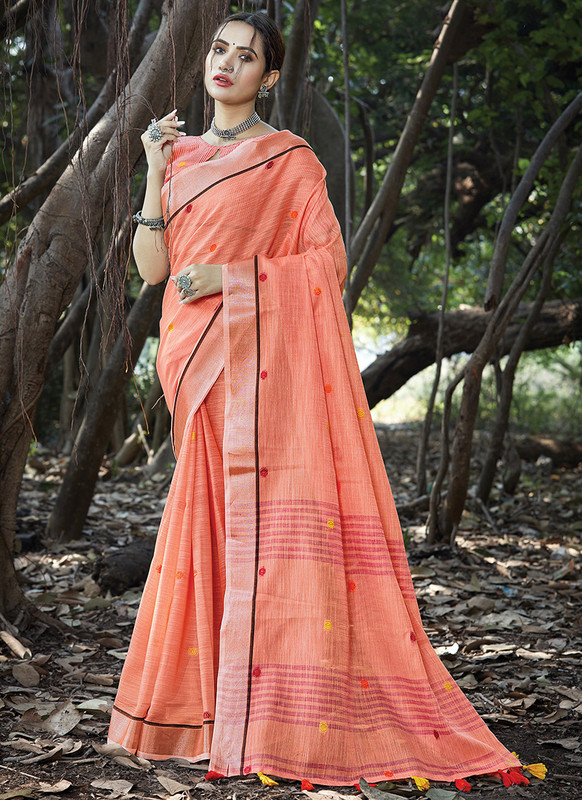 Dial N Fashion Orange Designer Party Wear Linen Saree