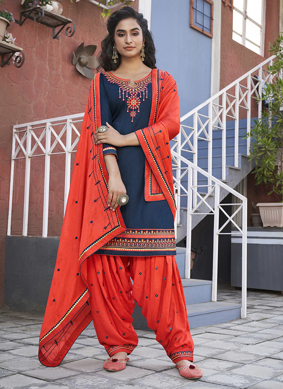 Dial N Fashion Navy Blue Designer Party Wear Cotton Patiyala Suit