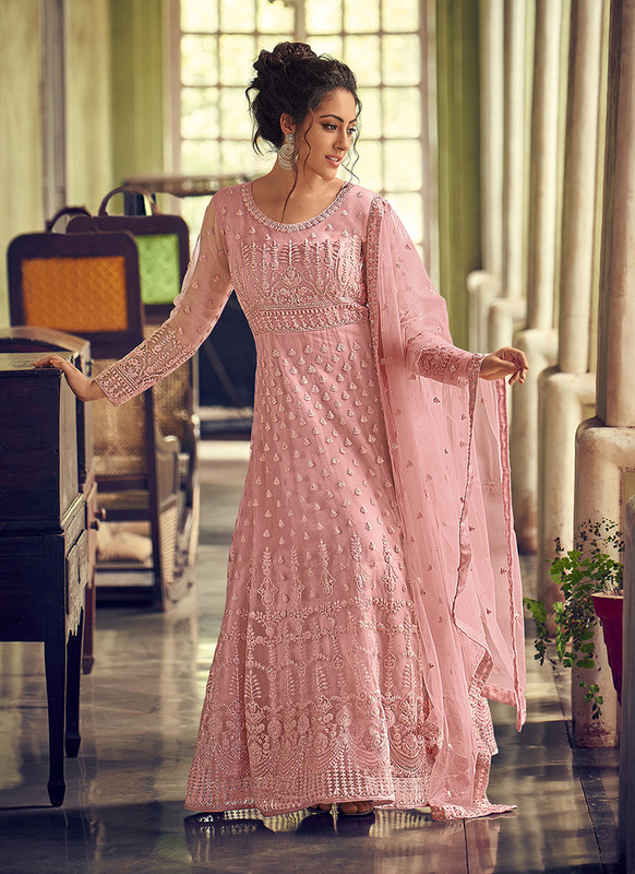Dial N Fashion Light Pink Heavy Designer Party Wear Butterfly Net Aanarkali Suit