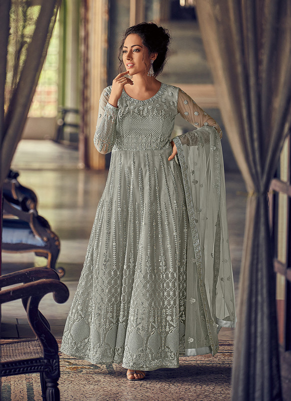 Dial N Fashion Off White Heavy Designer Party Wear Butterfly Net Aanarkali Suit