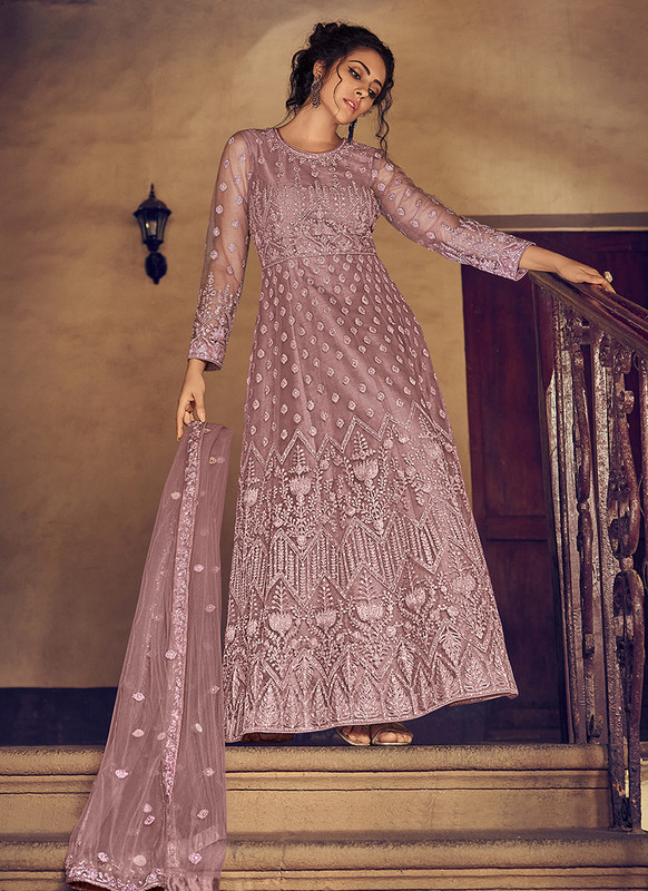 Dial N Fashion Light Brown Heavy Designer Party Wear Butterfly Net Aanarkali Suit